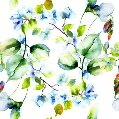 Póster Patrón sin fisuras con flores de primavera
