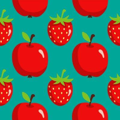 Póster Patrón sin fisuras con fresas y manzanas