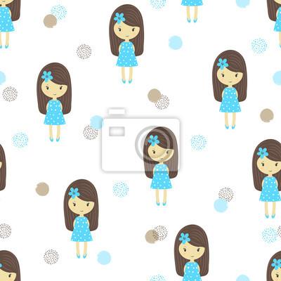 6b1b81af6 Póster: Patrón sin fisuras con lindas caricaturas niñas en vestidos azules.