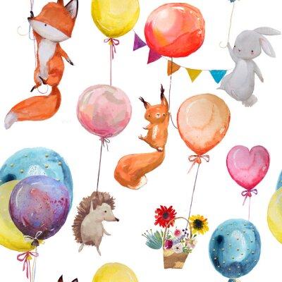 Póster Patrón sin fisuras con los animales con globos