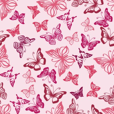 Póster Patrón sin fisuras con siluetas de mariposas