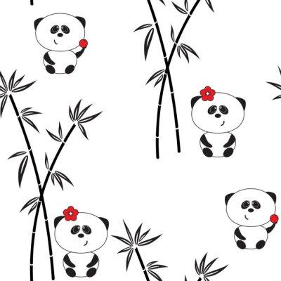 Póster Patrón sin fisuras, ilustración vectorial, panda divertida