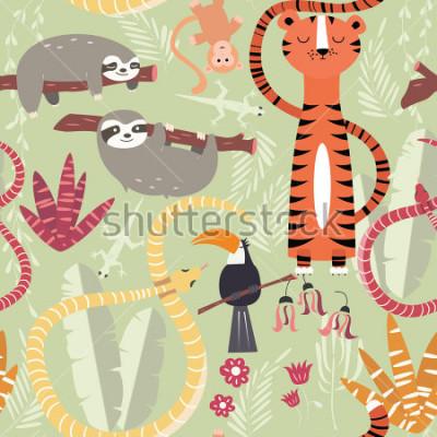 Póster Patrón sin problemas con lindos animales de la selva tropical, tigre, serpiente, pereza, ilustración vectorial
