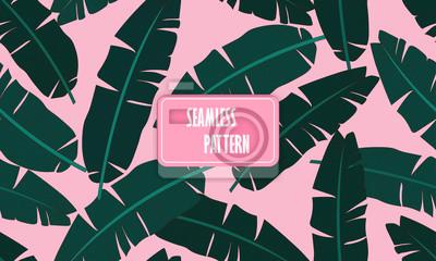 Póster Patrón tropical transparente con hojas de plátano. Composición de la hoja verde del plátano de la palma en un fondo rosado claro. Imprimir verano sin patrón de vectores patrón de papel tapiz. Ilustrac