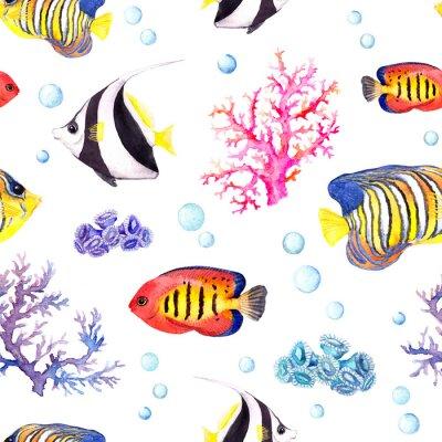 Póster Peces exóticos, corales de mar y chucherías de agua. Patrón de repetición. Acuarela