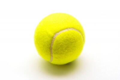 Póster pelota de tenis verde sobre fondo blanco