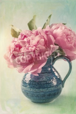 Póster Peony flowers in a vase
