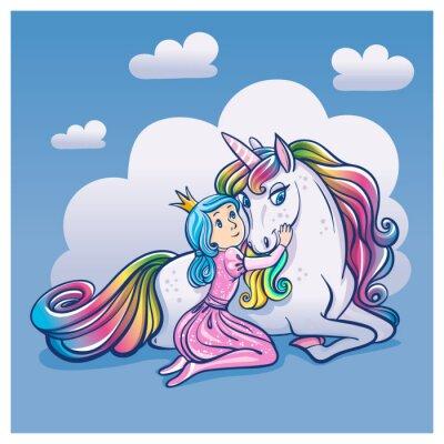 Póster Pequeña princesa chica y lindo unicornio, ilustración vectorial