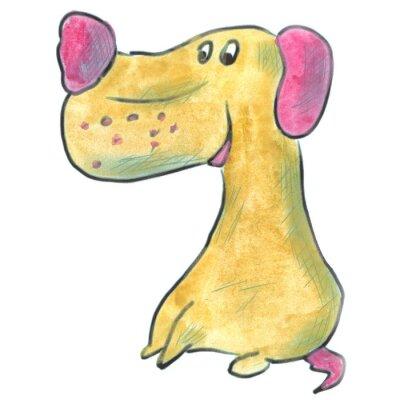 Póster Perro marrón con orejas de color rosa acuarela de dibujos animados aislado