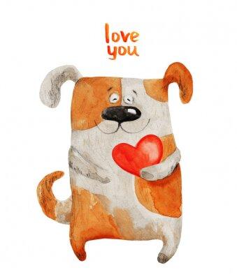 Póster Perro sonriendo con el corazón. Ilustración de acuarela