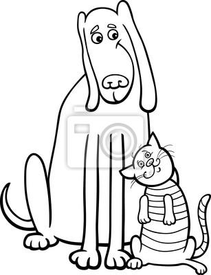 Perro y gato de dibujos animados para colorear libro carteles para ...