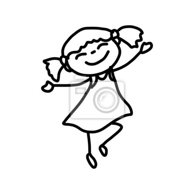 Personaje De Dibujos Animados Dibujo De La Mano De Niños Felices