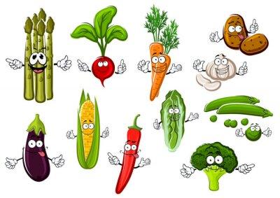 Póster Personajes de dibujos animados Happy verduras de granja