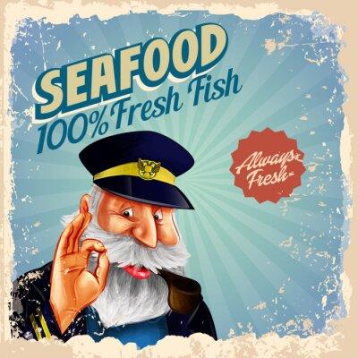 Póster Pescado fresco capitán de pescado