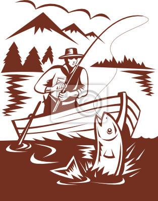 Pescador de la mosca de la trucha captura en el barco