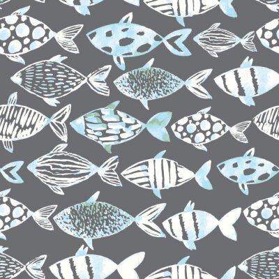 Póster Pescados blancos de la acuarela ligera en el fondo gris.
