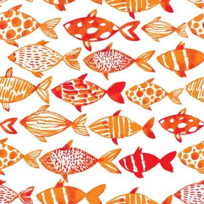 Póster Pescados ligeros del goldfish de la acuarela. Patrón de los pescados del embaldosado inconsútil. Ve