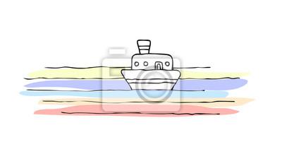 Petit Bateau en mer calme et colorée