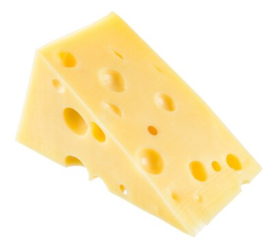 Póster Pieza de queso aislado. Con el camino de recortes.