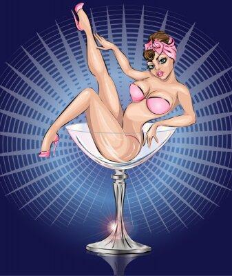 Póster Pin Up chica sexy llevaba bikini rosa en el vaso de Martini