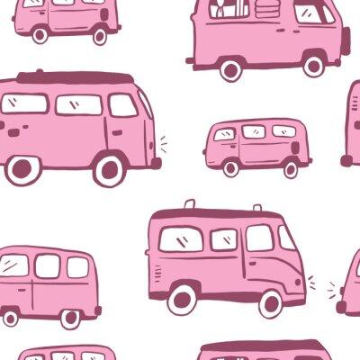 Póster Pink Seamless Hand Drawn Hippie Van Pattern. Bus repeat pattern. White Background.
