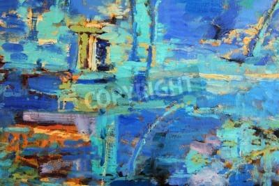 Póster Pintura al óleo abstracta con el blues predominantes