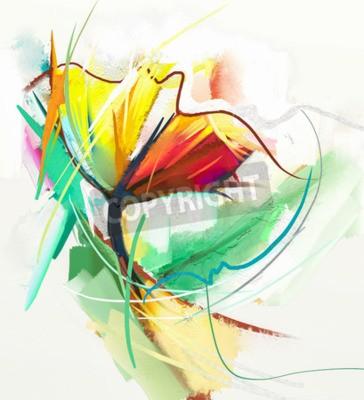 Póster Pintura al óleo abstracta de las flores de la primavera. Naturaleza muerta del flowe del color amarillo y rojo. Resumen Moderno impresionista. Pintura Del Arte De La Flor. Pintura decorativa de la flo
