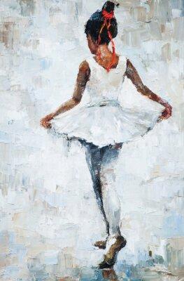 Póster Pintura al óleo, bailarina de la muchacha. Dibujó bailarina linda bailarina
