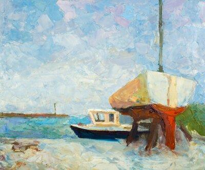 Póster Pintura al óleo sobre lienzo. Yates y barco