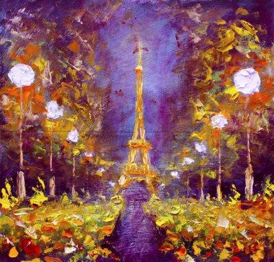 Póster Pintura al óleo - Torre Eiffel en la noche Francia por Rybakow