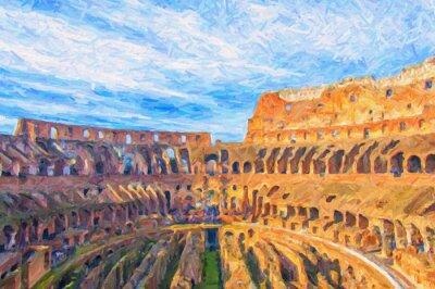 Póster Pintura de Digitaces del Colosseum de Roma