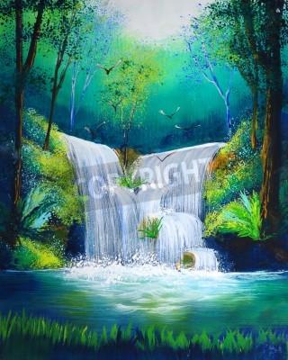 Póster Pintura de la acuarela de la cascada