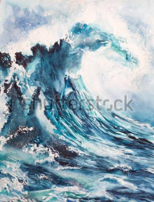Póster pintura de la acuarela de la onda del mar