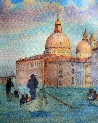 Póster Pintura de Venecia Italia, pintado por la acuarela