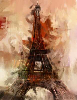 Póster Pintura París Torre Eiffel Torre Eiffel Image arte pintura al óleo