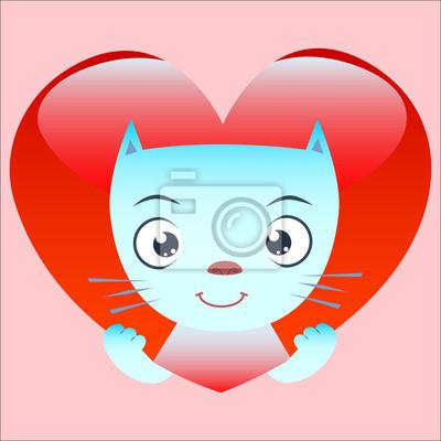 Píos gato lindo de corazón rojo