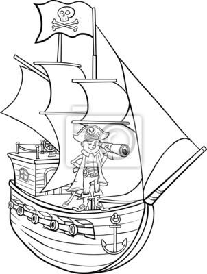 Pirata en la página para colorear de dibujos animados barco carteles ...