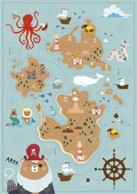 Póster Pirate map for children in a Scandinavian style. Vector illustration. Perfect for play room design and posters for your child's room.