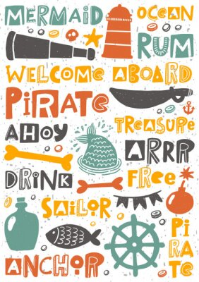 Póster Pirate party hand written lettering poster. Colorful grunge banner with ink drops and stylized phrases. Decoration print.