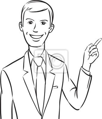 Pizarra De Dibujo Hombre De Negocios Sonriente Que Señala