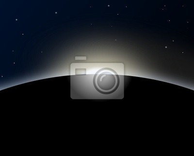 Planet with sunrise in space - Illustration