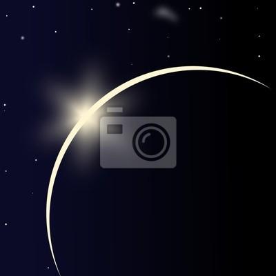 Planeta con la salida del sol en el espacio