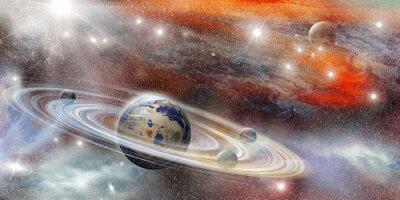 Póster Planeta en el espacio con numerosos sistema de anillos