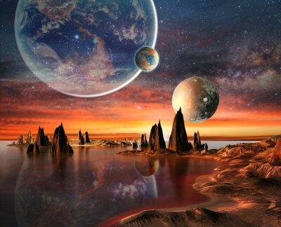Póster Planeta extranjero con la luna Tierra Y Montañas