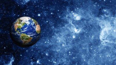 Póster planeta tierra en el espacio