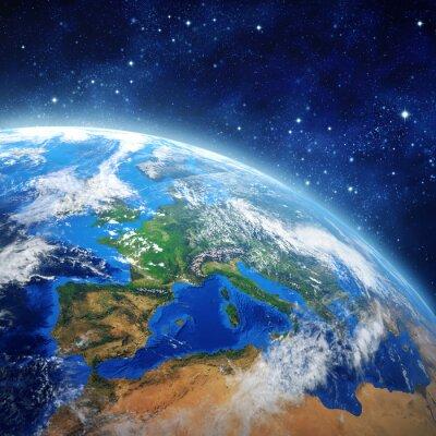 Póster planeta tierra en el espacio exterior