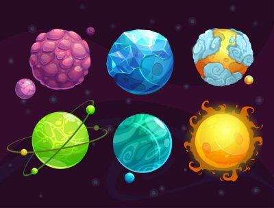 Póster Planetas alienígenas de fantasía de dibujos animados