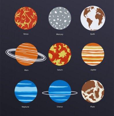 Póster Planetas iconos sobre fondo oscuro
