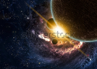Póster Planetas sobre las nebulosas en el espacio
