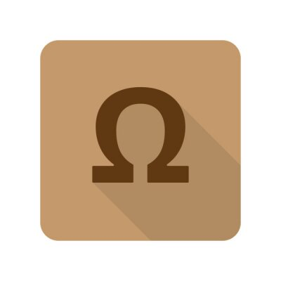 Póster Plano de estilo Omega icono de la aplicación web sobre fondo marrón claro